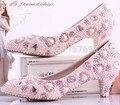 Perlas de color rosa boda de la princesa dulce zapatos de la boca poco profundas zapatos punta estrecha zapatos de novia zapatos cristalinos