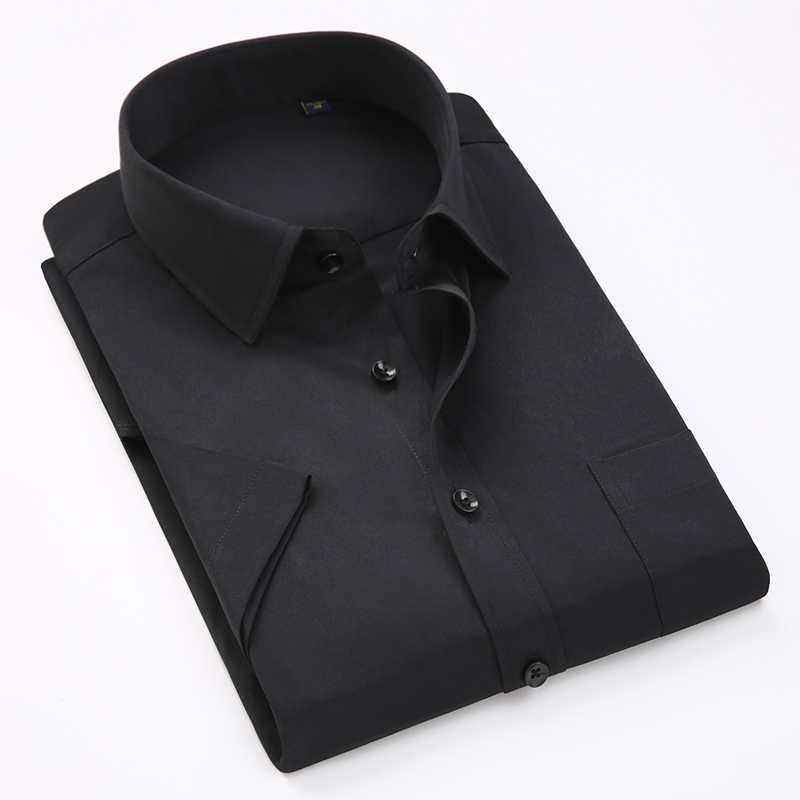 ブランドの新しい夏のファッション半袖男性シャツ無地メンズビジネスフォーマルなドレスシャツオフィスワーク摩耗白シャツ