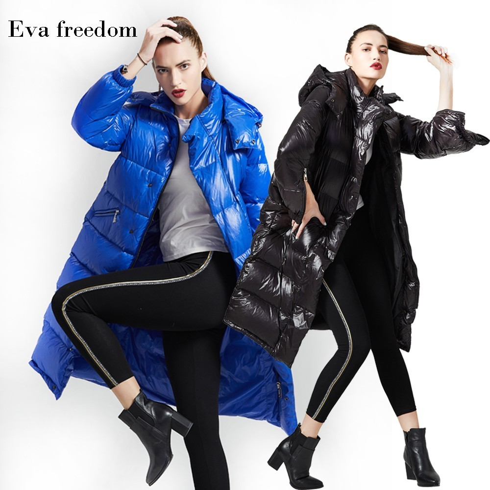 Eva Freedom Brand   down     coats   2018 winter new arrival   down   Jacket woman hooded long winter thick loose   down     coat   for women 189011