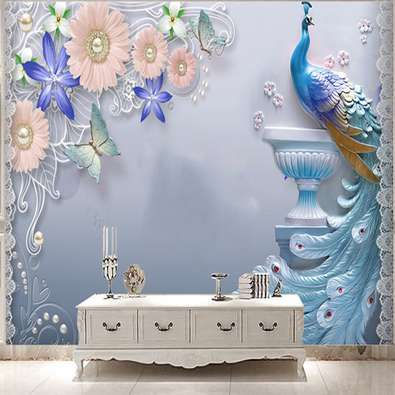 Custom 3D Photo Wallpaper European Vintage Flowers Peacock Abstract Bedroom TV Living Room Backgrounds Decor Mural Wallpaper