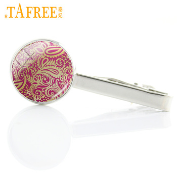 TAFREE exquisite fashion Paisley style glass cabochon mens tie clips pins Geometric Bohemia Hippe Mandala tie bar jewelry A382 image