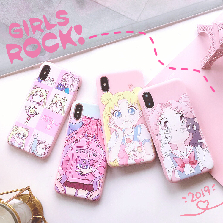 SAM S10 plus Cute Sailor Moon phone Case For <font><b>Samsung</b></font> Galaxy S10 / <font><b>S10e</b></font> / S9 plus /S9 /S8 Pink girl Soft back Cover <font><b>Capa</b></font> Coque image