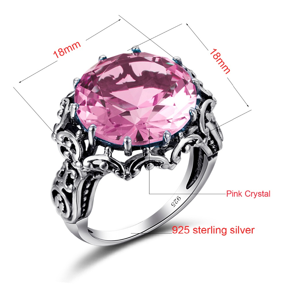 Szjinao Vintage Charm Romantic Pink Ring Design Fashion Zircon 100 ...
