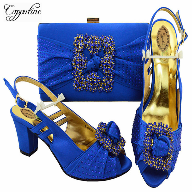 Capputine Royal Blue Color Italian Shoes And Bag Set African Matching Shoes And Bags Free Shipping Nigerian Party Shoes M10555 free shipping newest shoes matching bags royal blue italian designer shoes and bags ct16 06