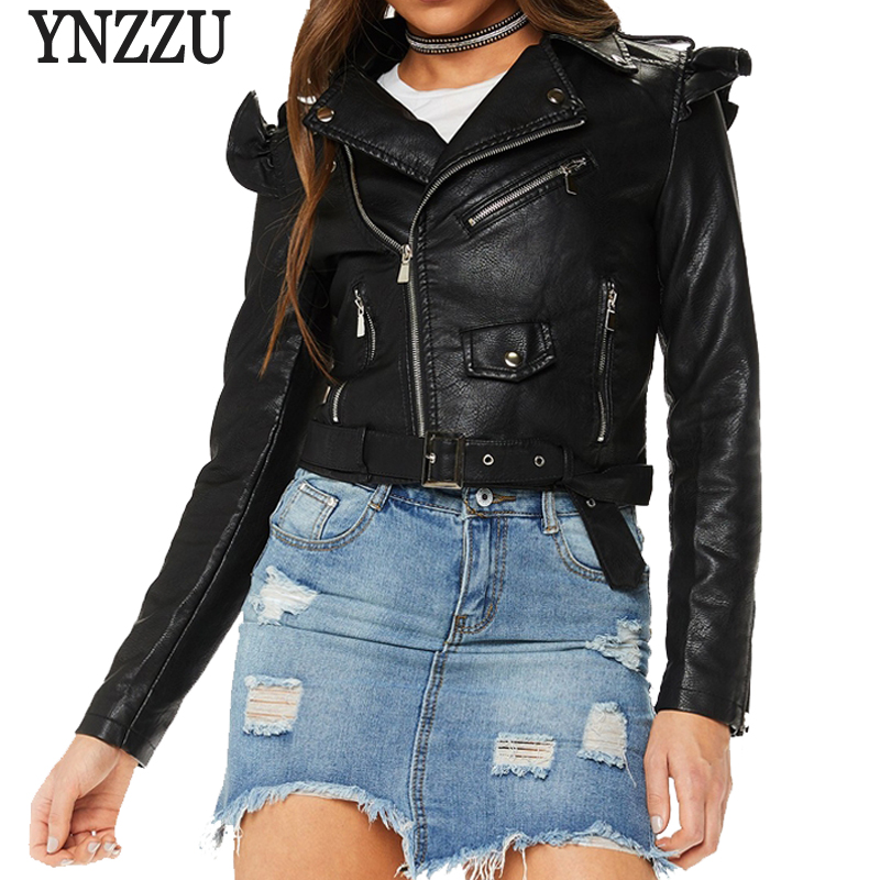 YNZZU 2018 Autumn Casual Women Faux   Leather   Jacket Solid Ruffle Short Zipper Slim Women PU Jacket Coat chaqueta mujer YO543