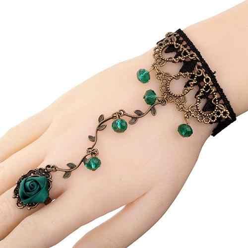 Mulheres Flor Do Laço Do Vintage Pulseira Slave Chain Link Dedo Anelar Da Mão Harness