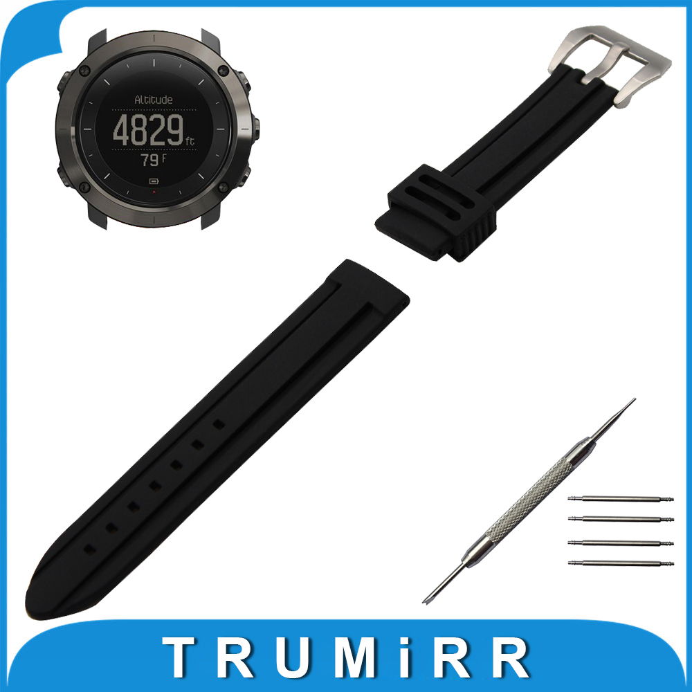 24mm Silicone Rubber Watch Band for Suunto TRAVERSE Watchband Stainless Steel Pre-v Buckle Strap Wrist Belt Bracelet Black quality pu rubber strap watch accessories for for suunto