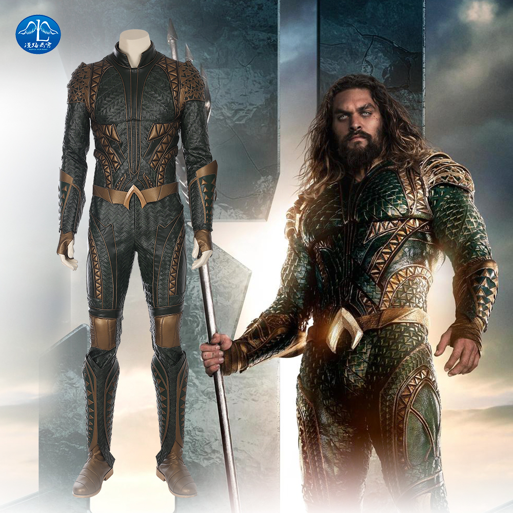 MANLUYUNXIAO Justice League Arthur Curry Aquaman Cosplay jelmez Halloween jelmez férfiaknak Green Jumpsuit Aquaman Costume