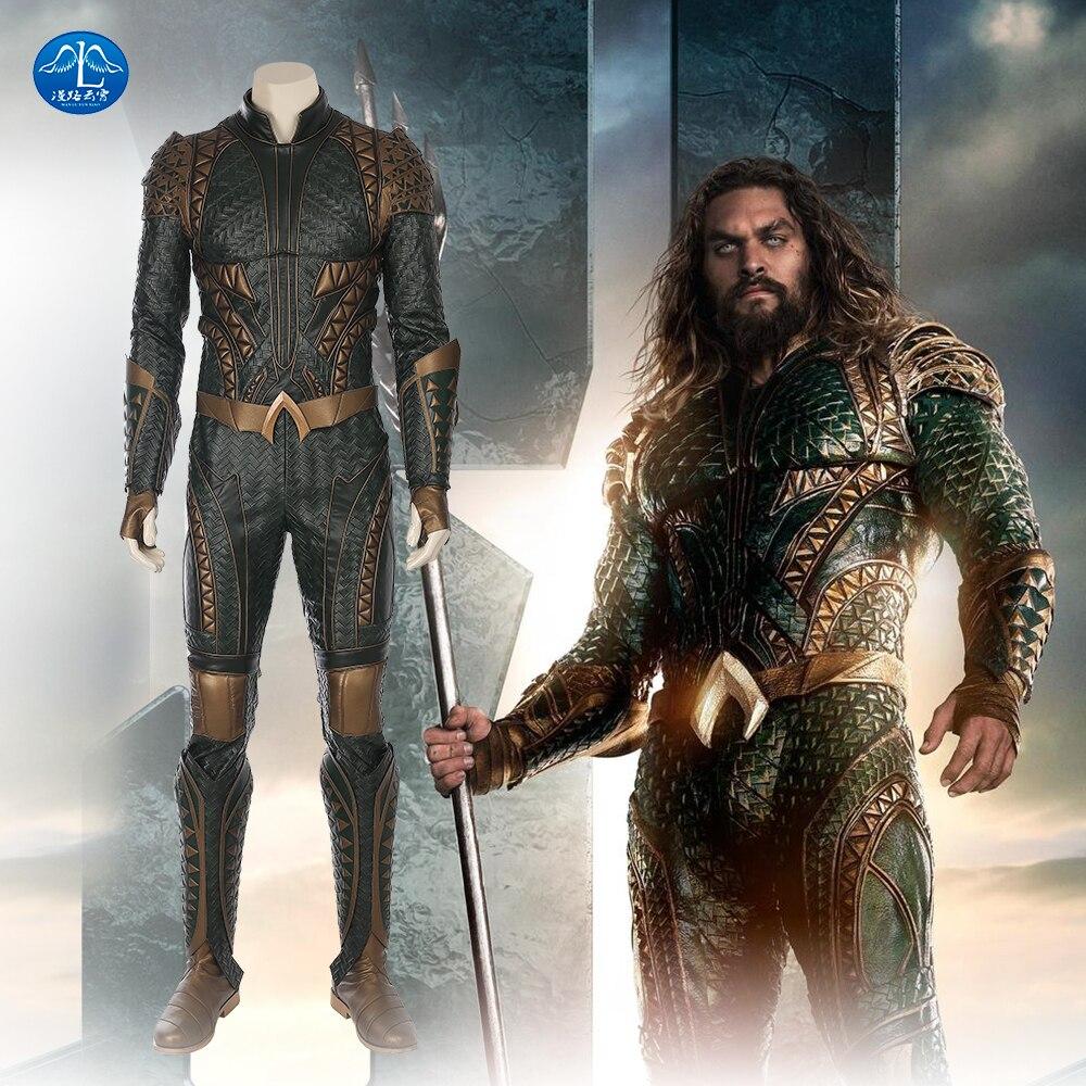 MANLUYUNXIAO Justice League Arthur Curry Aquaman Cosplay Costume Halloween Costumes Pour Hommes Vert Salopette Aquaman Costume