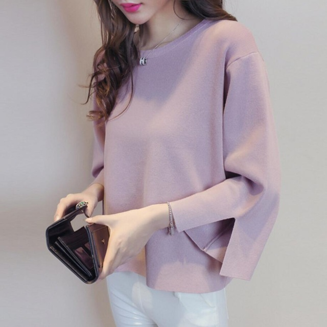 5 Color Round Neck Knitted Sweater Women 2017 Autumn Winter Fashion Pullovers Split Cuff Loose Jumper Female Oversize Sweater