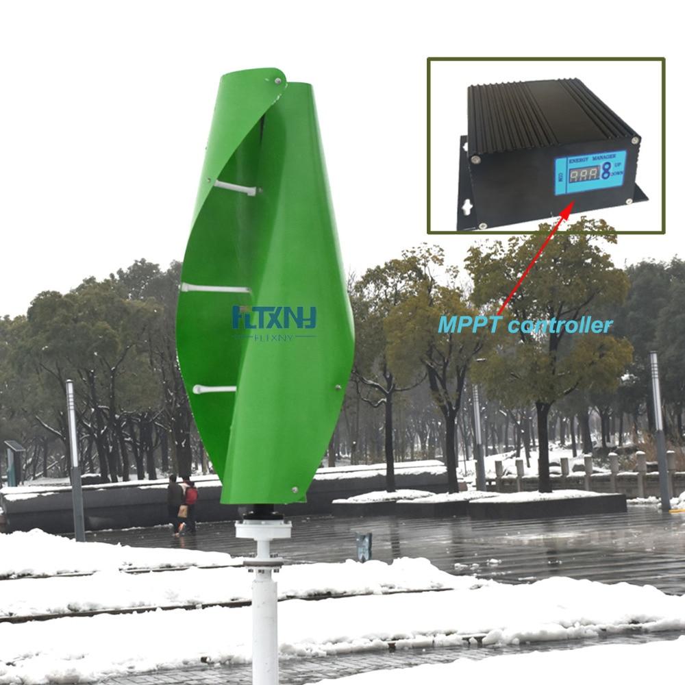 1.3 m commencé up vert/blanc/orange couleur maglev vent générateur 600 w 12/24 v vertical éolienne à axe avec 600 w MPPT contrôleur