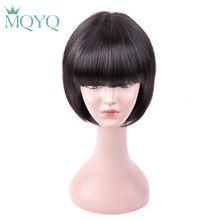 MQYQ Brazilian Straight Bob Wig Black Short Human Hair Wigs For Women With Baby Hair with Bang Natural Color 807(China)