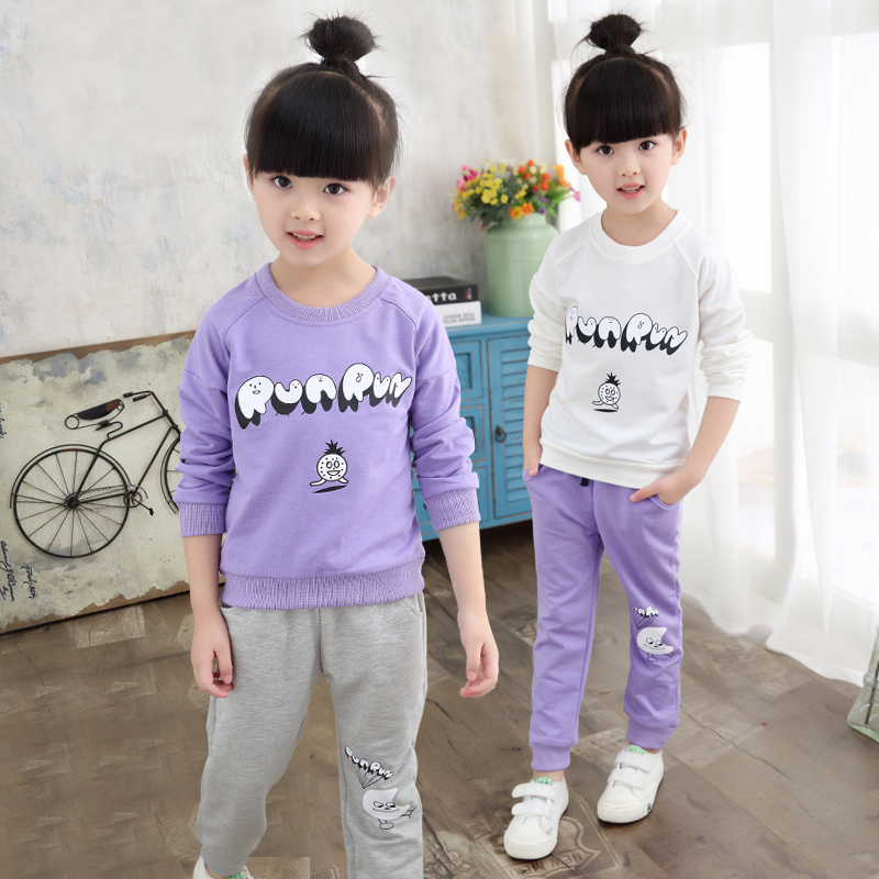 Children's clothing child autumn set 2016 spring and autumn casual female child baby autumn sports long-sleeve twinset 2017 new style spring autumn hoodie baby girl clothing set sequin lace long sleeve velour sports jacket long trousers outfits