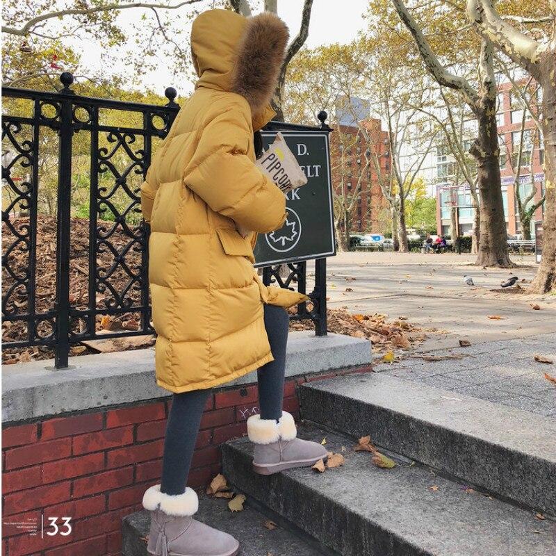 Fourrure Outwear Long Veste D'hiver Manteau Yp068 Col De Solide yellow Nouveau Faux Épaissie Femmes Duvet Couleur Lâche Survêtement Caramel 2019 Grand Pain nwO8XZN0Pk