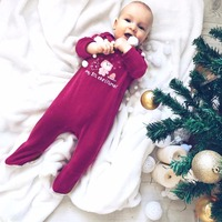 2017 Newborn Christmas Clothing My 1St Christmas Bear Print Long Sleeve Red Jumpsuits 2017 Christmas Baby