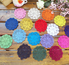 PD055 10cm white multi color Vintage Lace round shaped placemat love hand crocheted cotton