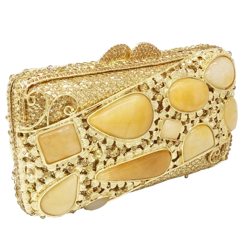 Golden Stones Women Evening Clutch Bags Brand Hollow Out Diamond Crystal  Bridal Wedding Handbags Metal Clutches Shoulder Purse-in Top-Handle Bags  from ... ebabf5f040712