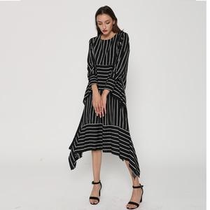 Image 4 - CHICEVER Striped Casual Dress Women Long Sleeve Midi Dresses Female Lace up Bandage Asymmetrical Clothing Korean Autumn 2020 New