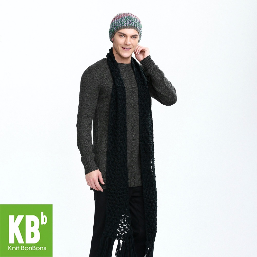 2018 KBB Spring Pure Black Cute Lace Style Warm Winter Yarn Knitted Men Neck Cover   Scarf     Wrap     Scarves   for Men Women