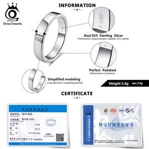 Image 5 - ORSA JEWELS 925 srebro mężczyźni kobiety pierścionki klasyczny prosty styl zwykły pierścień rocznica para obrączka biżuteria SR73