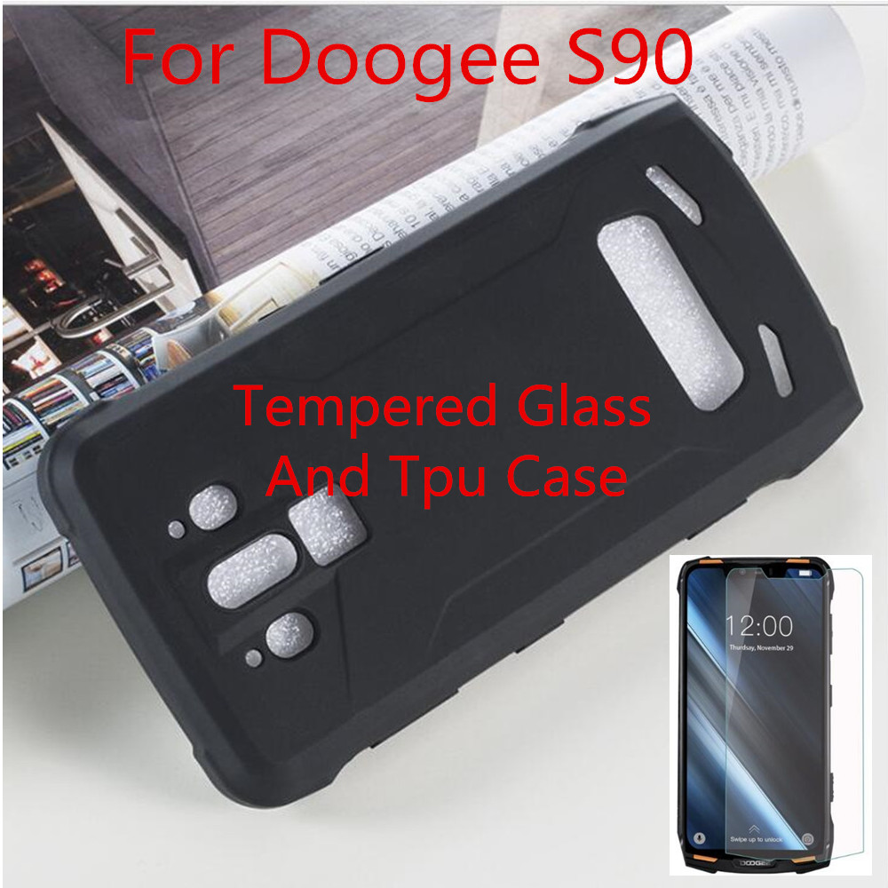 For Doogee S90 Tempered glass Luxury Soft TPU Phone Case With Tempered glass For Doogee S90(China)
