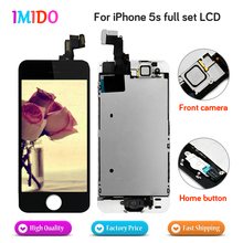 цена на 20pcs Best Quality Full Set LCD Display For iPhone 5S Home button+Front camera  LCD display Touch screen Digitizer Assembly