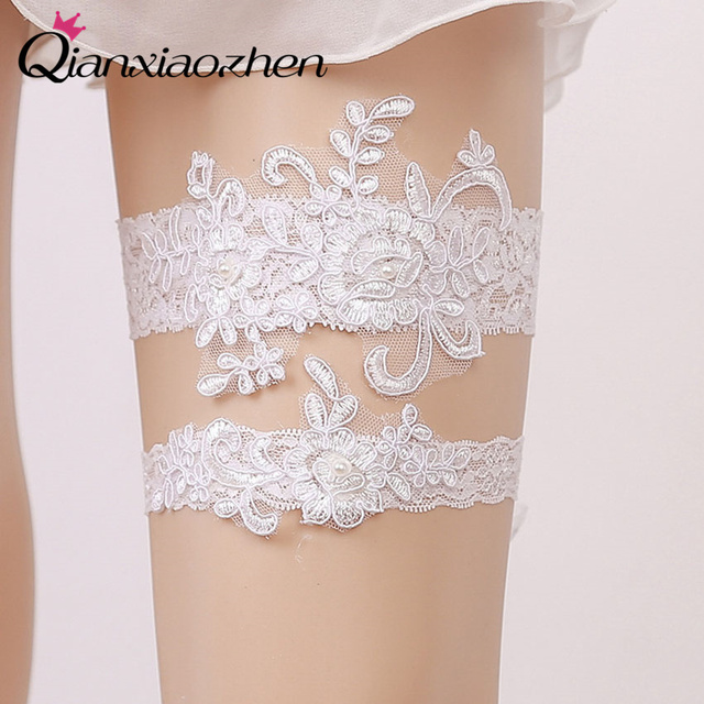 Why Two Garters For Wedding: Qianxiaozhen 2pcs/set Flower Lace Leg Wedding Garter
