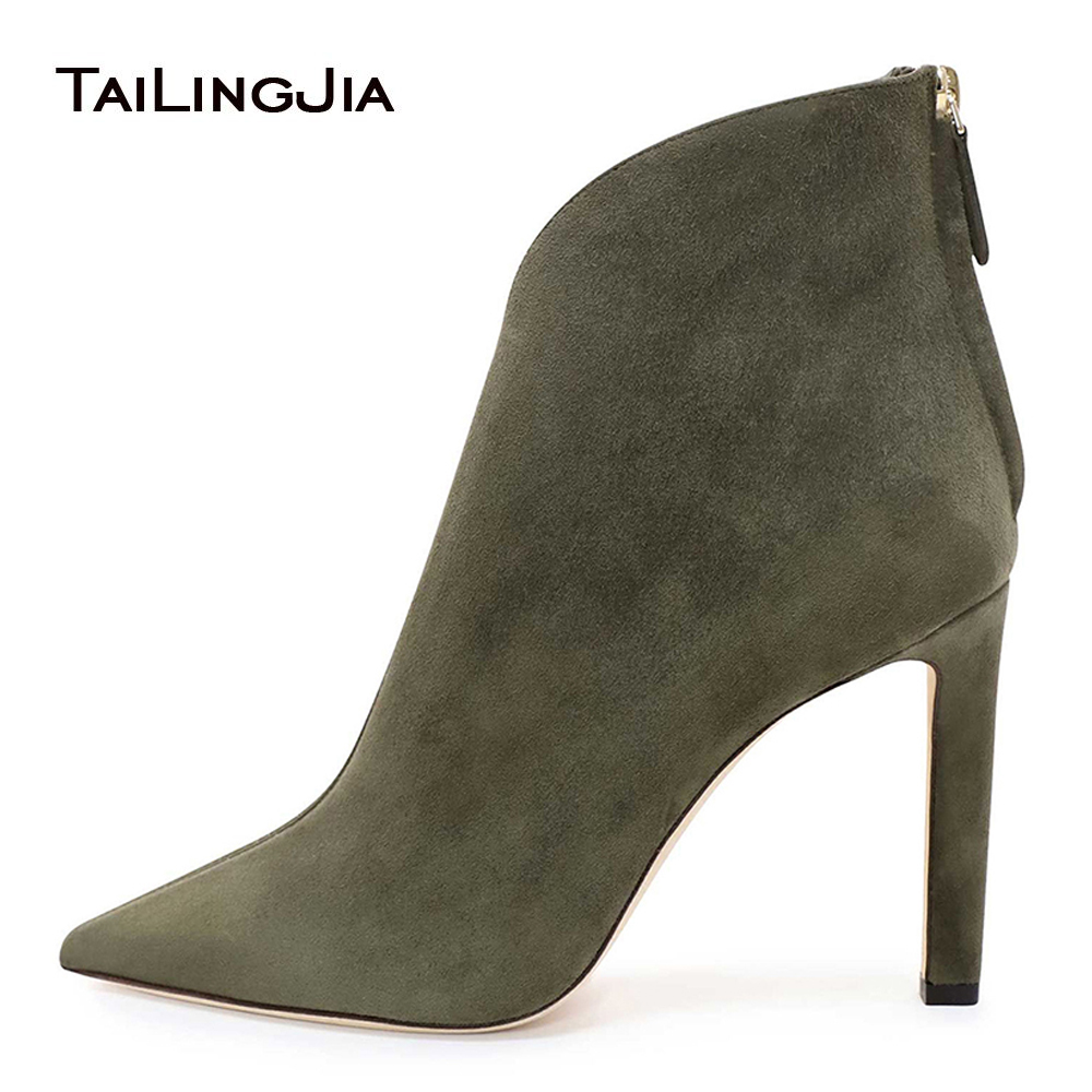 Dark Green Faux Suede Pointed Toe High