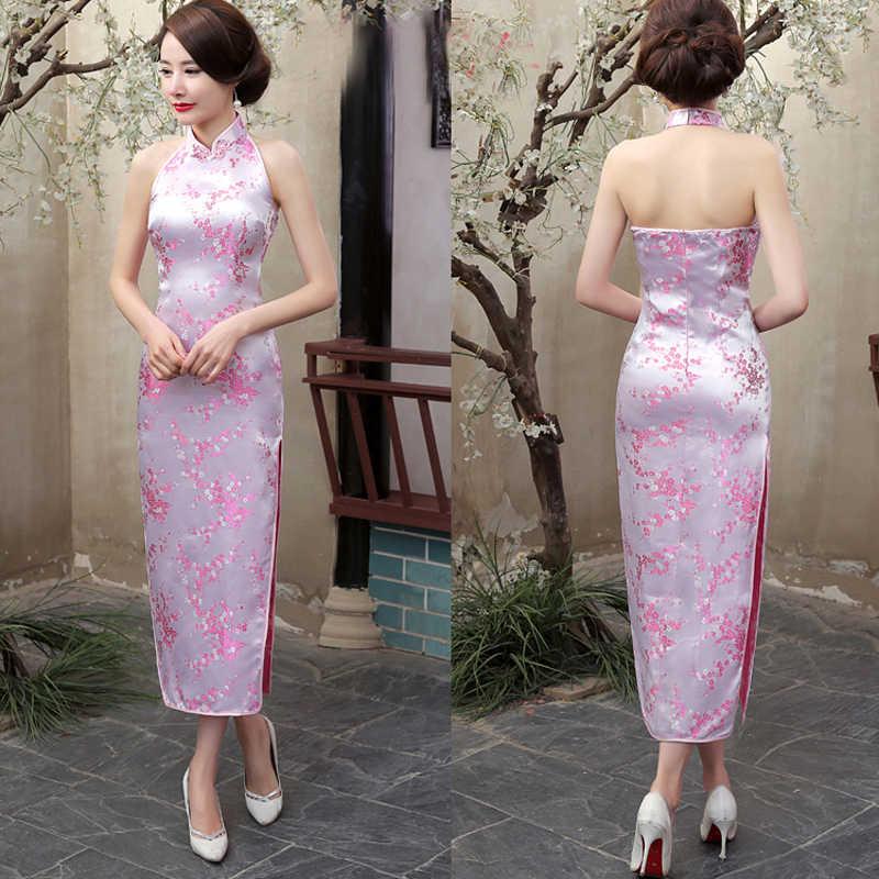 Vestido de noche de satén para señora, clásico, azul marino, chino, novedad, Cheongsam Qipao con espalda descubierta, talla de flor S M L XL XXL XXXL