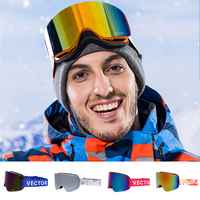 Ski Goggles Double Layer UV400 Anti Fog New Big Lens Ski Mask Glasses Winter Professional Skiing