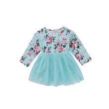 0-18M Spring Fall Newborn Infant Baby Cute Princess Long Sleeve O-Neck Bow Floral Print Lace Knee-Length Tutu Dress Outfit Party