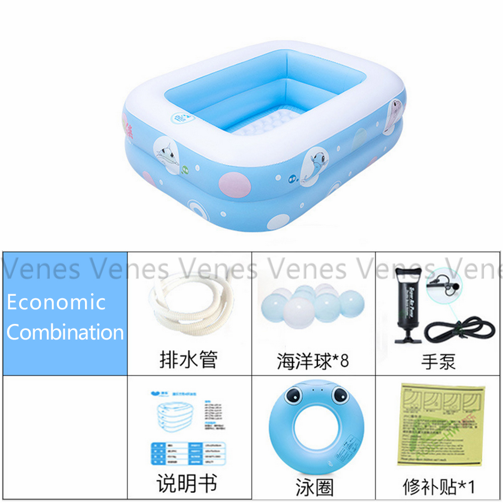 Basic package of 2 Rings Inflatable Baby pool baby swimming pool portable children's rectangle shape kids basic swimming pool dual slide portable baby swimming pool pvc inflatable pool babies child eco friendly piscina transparent infant swimming pools