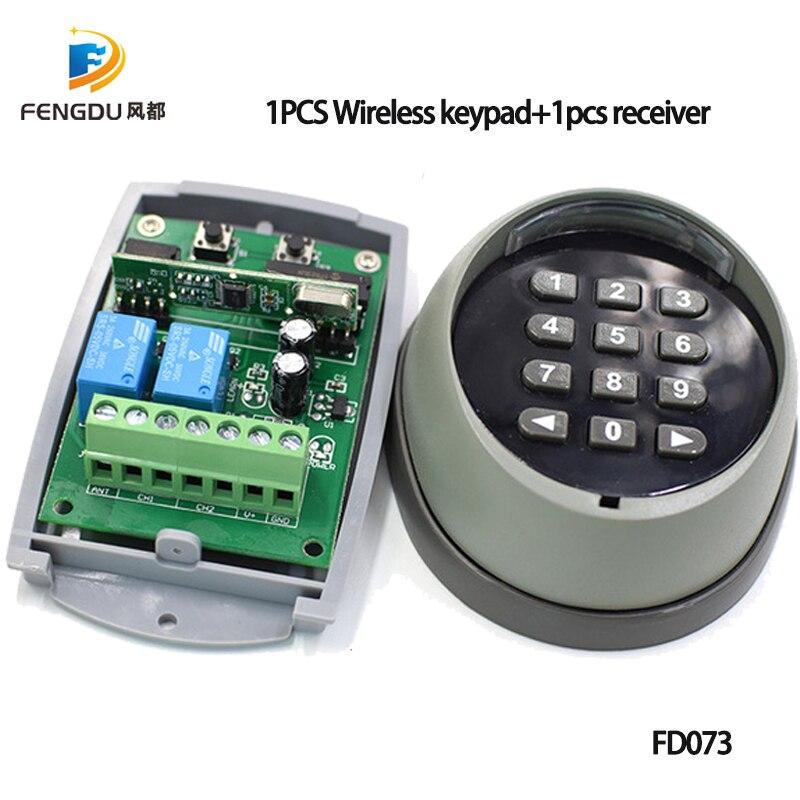 1 paire 433 MHz sans fil clavier mot de passe commutateur télécommande universelle et récepteur pour contrôle d'accès porte porte