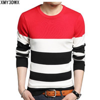 2017 Winter New Men S Sweaters Male Slim Thick Round Neck Sweater Fashion Stripes Stitching Large