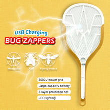Power storage Flying insects mosquito killer Bug Zappers LED lighting Electric Fly Mosquito Swatter Racket Insects Pest control