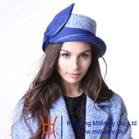 June's Young Women Hat Winter Outdoor Warm Wool Hat Church Hat Wedding Hat Blue Patchwork Pattern Fashion Lady Casual Fedoras