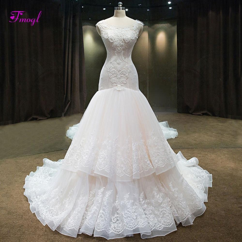 Trumpet Wedding Dresses 2019: Fmogl Luxury Beaded Scoop Neck Mermaid Wedding Dresses