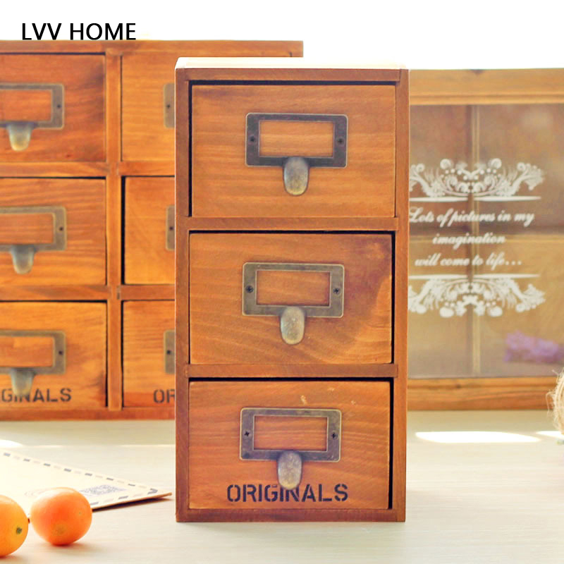 LVV maison tiroir rétractable type armoire de rangement/bois massif boîte à bijoux cosmétique esktop décoration boîte de rangement