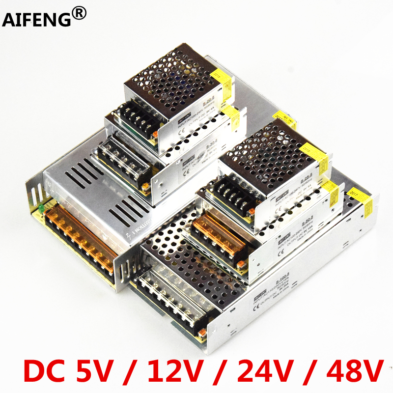 AIFENG Switching Power Supply 110V/ 220V To 5V 12V 24V 48V Led Power Supply CCTV / LED Strip  AC To DC Source Power Adapter