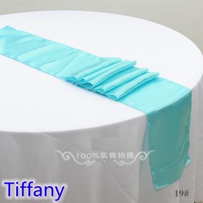 티파니 컬러 테이블 러너 새틴 반짝이 컬러 테이블 장식 웨딩 호텔 파티 쇼 테이블 러너 저렴한