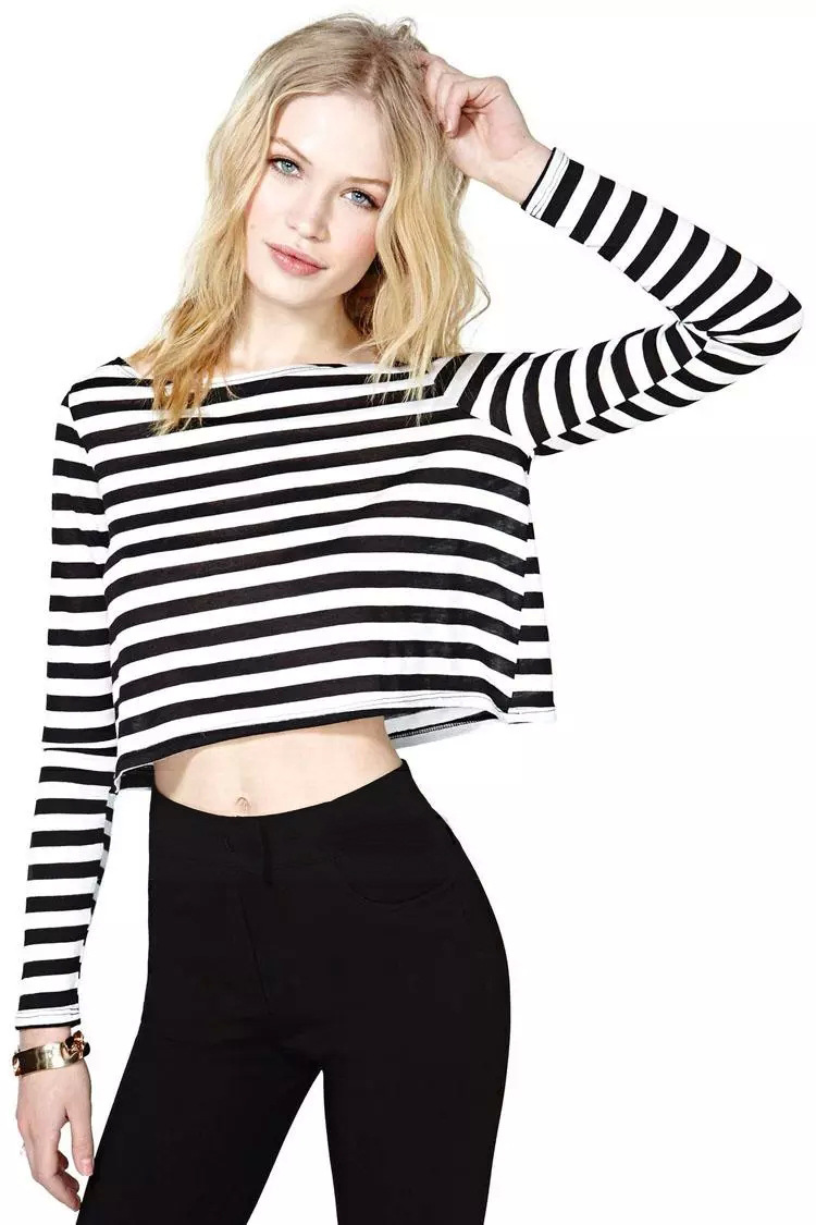 Long sleeve women crop top black and white striped t shirt for White long sleeve tee shirt womens