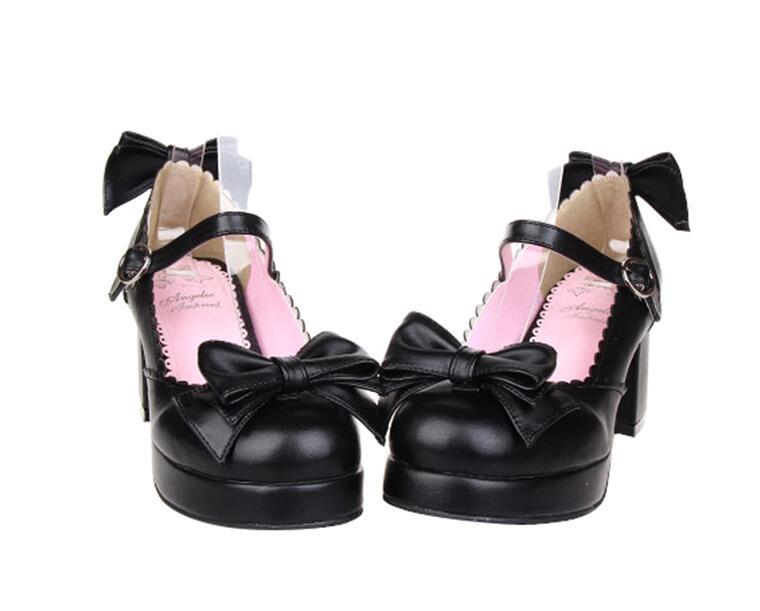 Bowtie Altos Chica Vestido Negro 6 5 Señora Bombas Lolita Princesa 47 Cm blanco Mujer Tacones Angelical Mori Impresión Cosplay rosado Mujeres 33 Zapatos Partido CRAwqpw