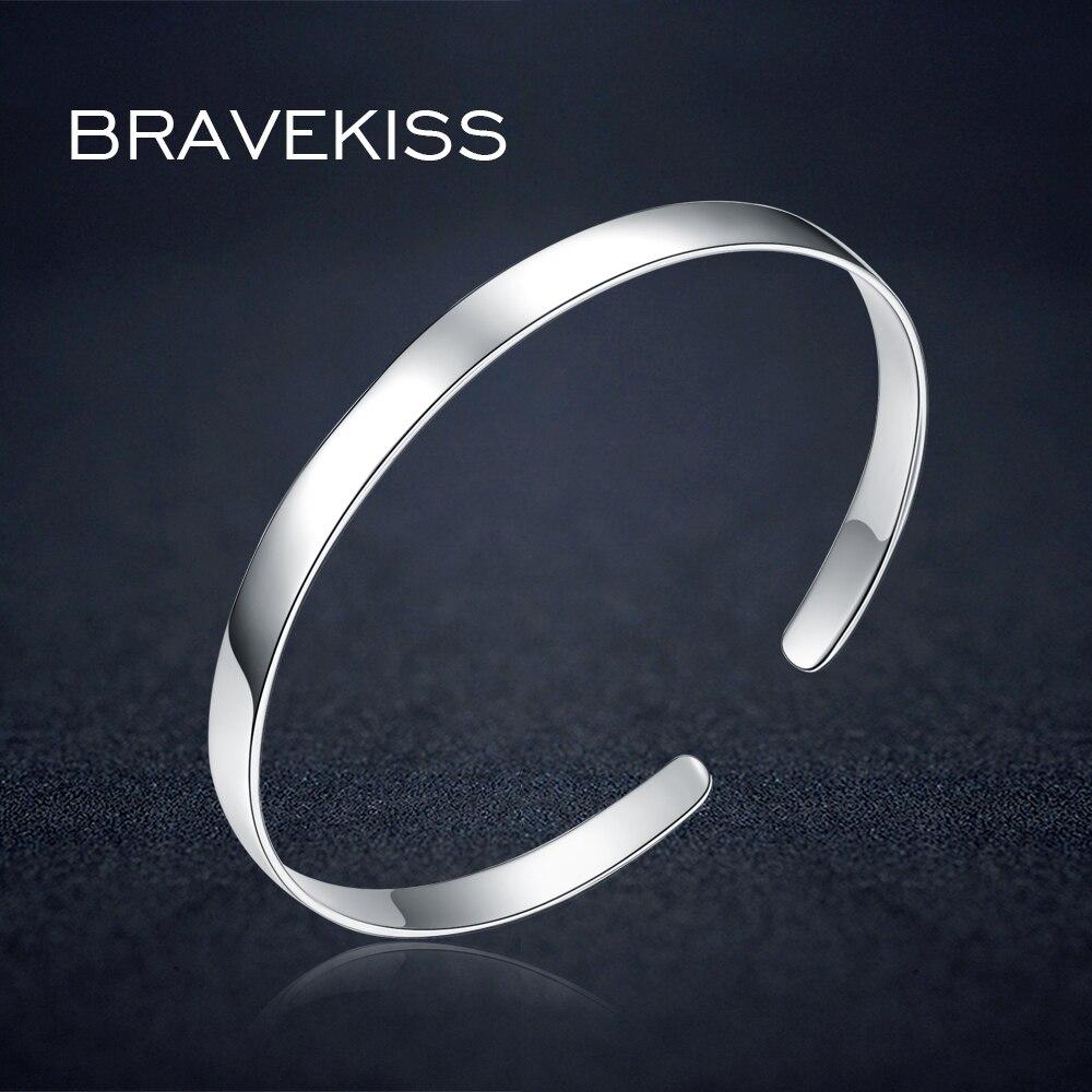 BRAVEKISS Sterling Silver 925 Bracelet For Women Open Adjustable Cuff Bracelet Bangle Christmas Gift Fashion Jewelry BLB0078
