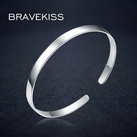 BRAVEKISS Sterling Silver 925 Bracelet For Women Open Adjustable Cuff Bracelet Bangle Christmas Gift Fashion Jewelry