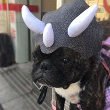Small pet dog cat hat Cloth leather Dinosaur Headgear Hat Dog Adjustable Buckle Costume Festival Cosplay 2018 fashion(China)