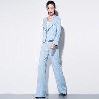 Femmes Blazer et Costumes de Coton deux pièce costume de mode casual bleu petit banlieue Blazer manteau + large jambe pantalon costumes femelle