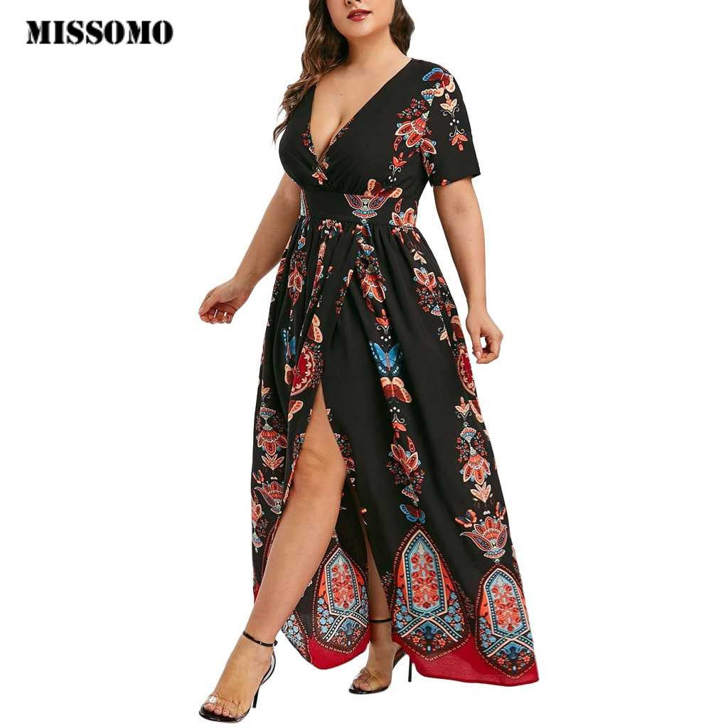 MISSOMO Plus Size 5XL Women Butterfly Printed V-Neck Short Sleeve Casual Maxi Long Dress Vestidos Plus Size clothes women