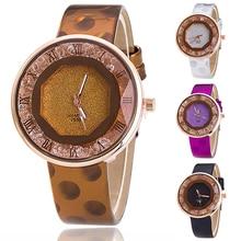 2016 Women's Fashion Quicksand Roman Number Faux Leather Analog Quartz Wrist Watch for Women Lady Girl