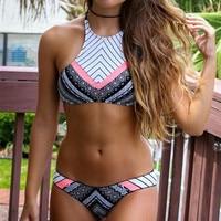 Tankini Swimwear Ladies S Vest Swimsuit Geometric V Bikinis Set Tank Tops Bathing Suits High Neck