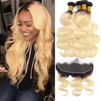 1B/ 613 Ombre Blonde Bundles With Frontal Brazilian Remy Hair Body Wave 3 Bundles With Frontal Russian Blonde Hair Extensions